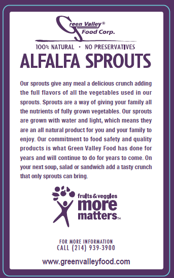 Green Valley Food Corp. ALFALFA SPROUTS