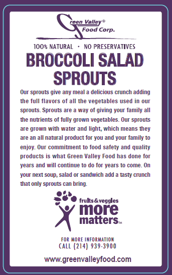 Green Valley Food Corp. BROCCOLI SALAD SPROUTS