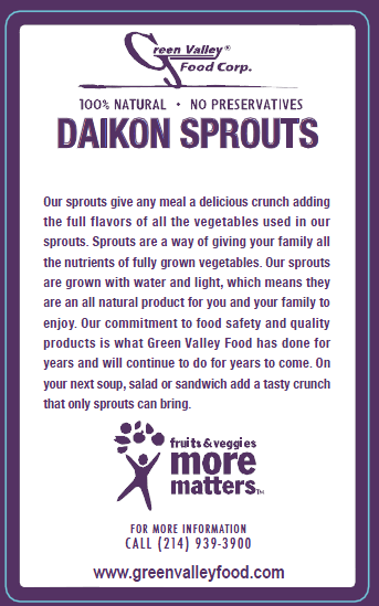 Green Valley Food Corp. DAIKON SPROUTS