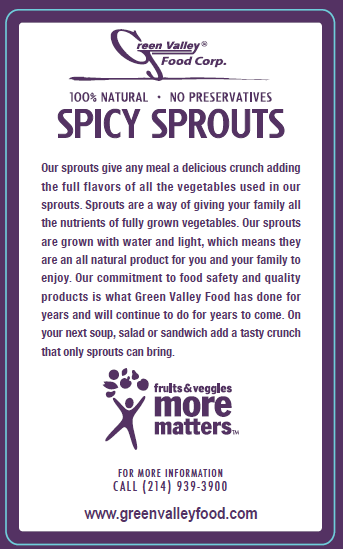Green Valley Food Corp. SPICY SPROUTS