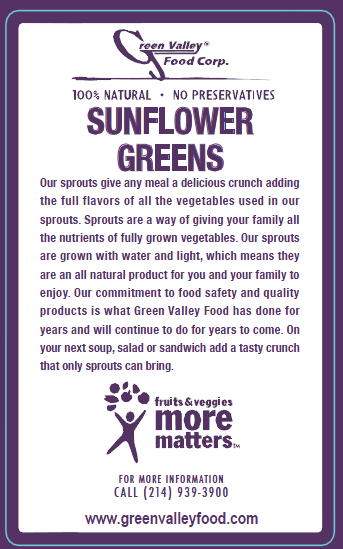 Green Valley Food Corp. SUNFLOWER GREENS